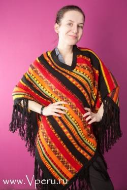 пончо особое с специальным дизайном из шерсти Ламы