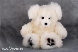 Мишка белый - мягкая игрушка  ручной работы, из натурального меха альпака.