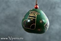 """Новогодняя  игрушка зеленая """"Подарки"""""""