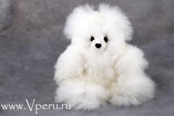 мягкая игрушка  мишка из натурального меха альпака бэйби