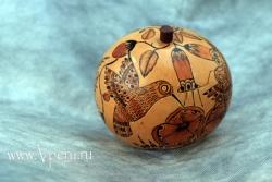 Шкатулки из тыквы ручной работы с южно-американскими узорами