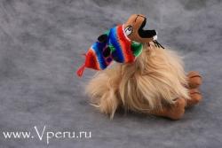 """Mягкая игрушка """"Лама в шапке Чую"""" из натурального меха альпаки"""